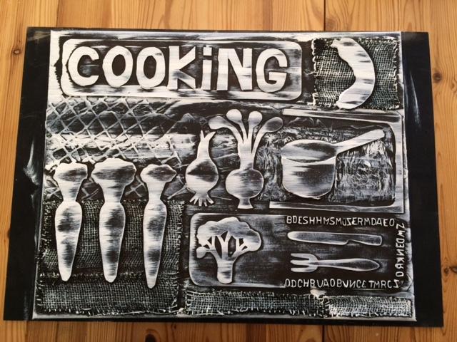 Tableau décoratif «COOKING» pour la cuisine