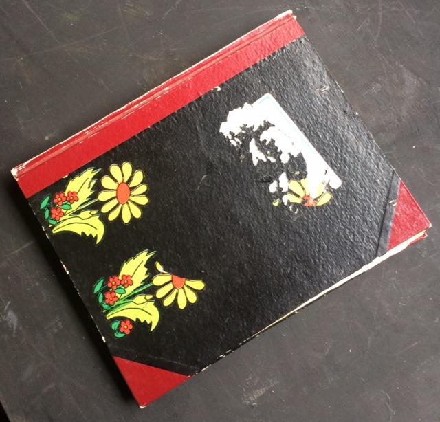 Un cahier, vieilli, pour moi le plus précieux avec dedans mes plus vieux dessins, des descriptions de merle, de fées.